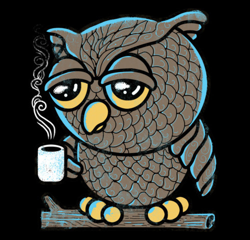 Coffee Owl Droopy Eyes T-Shirt