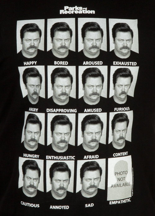 Emotions Ron Swanson Parks and Recreation T-Shirt