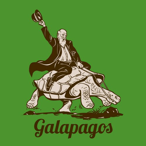 Galapagos Charles Darwin Riding A Tortoise T-Shirt