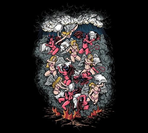 Angels Demons Pillow Fight T-Shirt