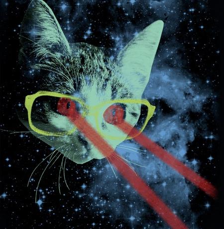 Mister Mittens Space Cat Laser Eyes T-Shirt