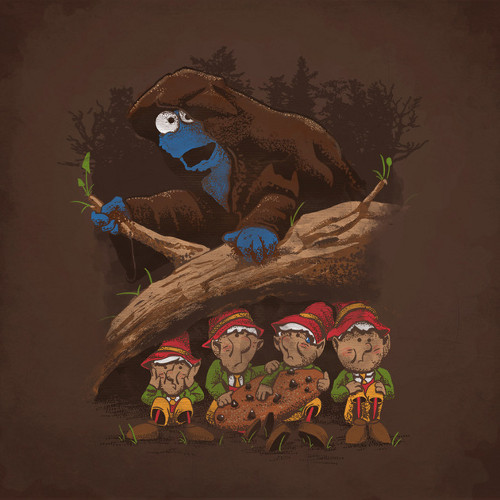 Cookie Monster Ringwraith Hobbit Elves T-Shirt