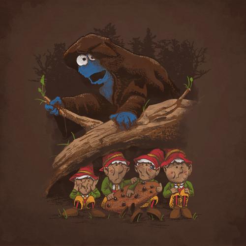 Cookie Monster Ringwraith Hobbit Elves T-Shirt