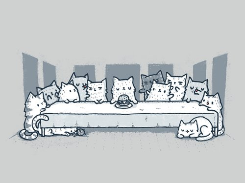 da Vinci Last Supper Cats T-Shirt