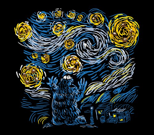 Cookie Monster Starry Night Van Gogh T-Shirt