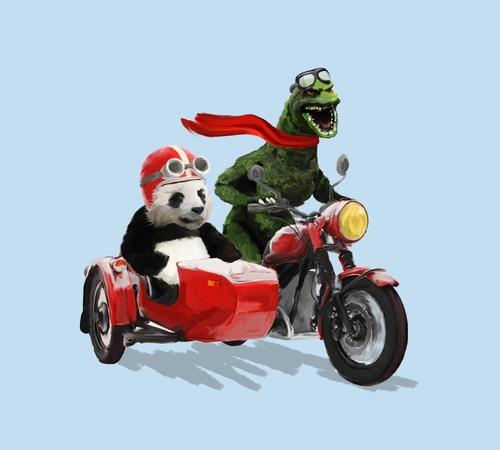 Godzilla Panda Motorcycle Sidecar T-Shirt