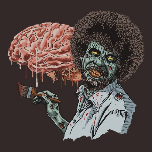 Happy Brains Zombie Bob Ross T-Shirt