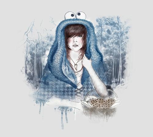 Little Blue Riding Hood Cookie Monster Wolf T-Shirt