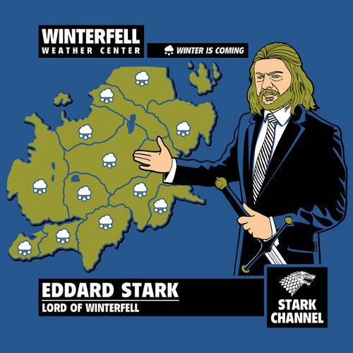 Winter Is Coming Eddard Stark Weather Report T-Shirt
