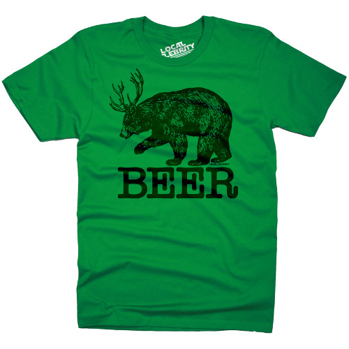 Beer Bear Deer Antlers T-Shirt