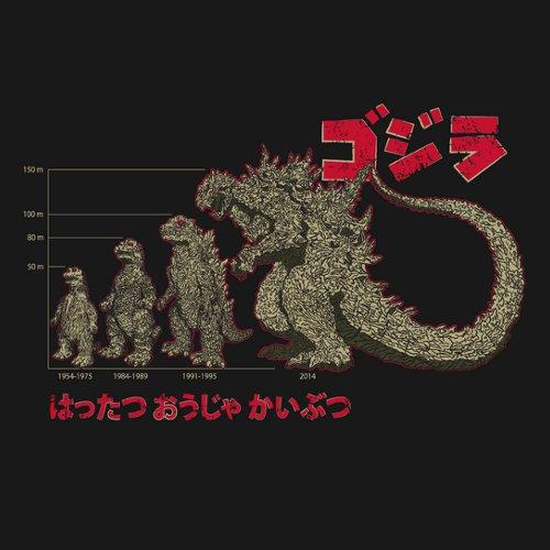 Godzilla Evolution Height Chart T-Shirt