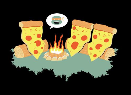 Pizza Michelangelo Scary Story Teenage Mutant Ninja Turtles T-Shirt