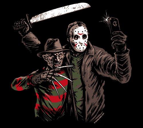 Jason Voorhees Freddy Krueger Selfie T-Shirt