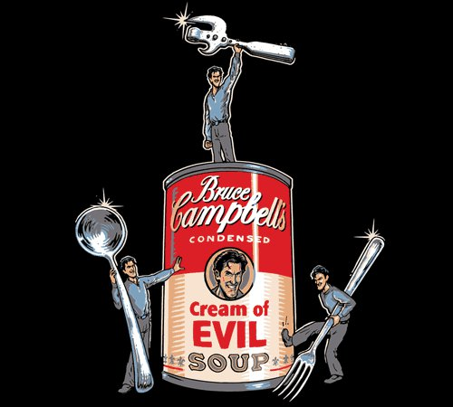 Bruce Campbell's Cream of Evil Soup Army of Darkness T-Shirt