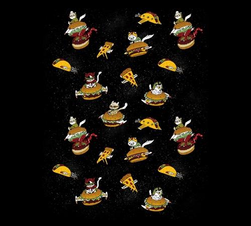 Lol Cat Cheeseburger Spaceships T-Shirt