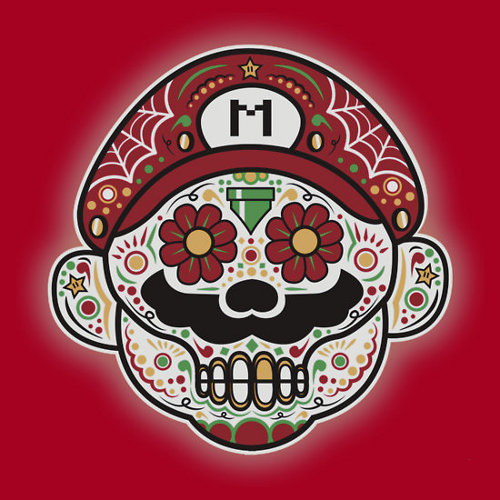 Super Marios Bros Day of the Dead Skull T-Shirt