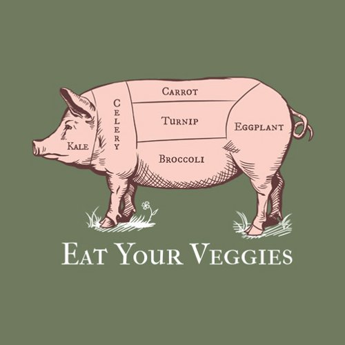 Eat Your Veggies Pig Chart Vegetables T-Shirt