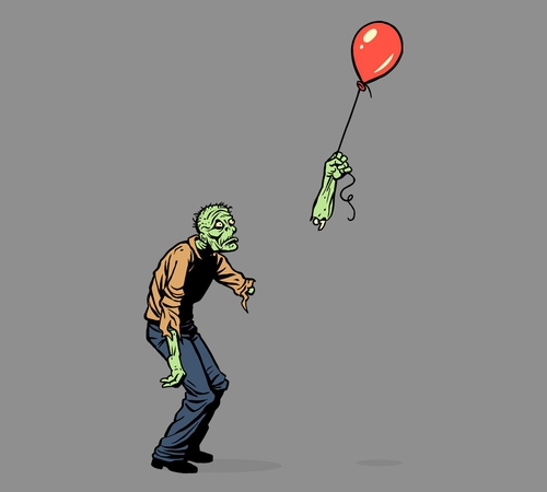 Zombie Holding Balloon T-Shirt