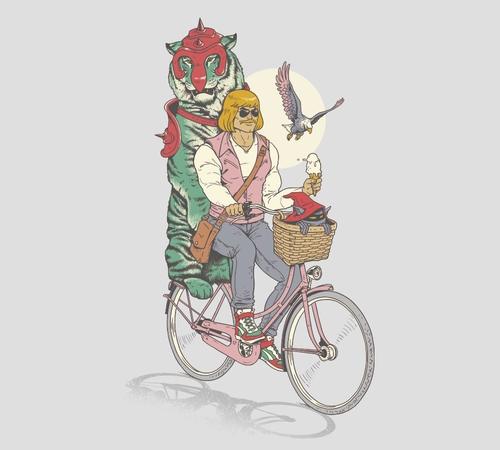 He-Man Hipster Prince Adam Bike Ride T-Shirt