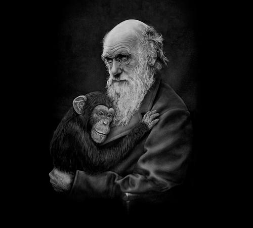 Charles Darwin Chimpanzee Hug T-Shirt