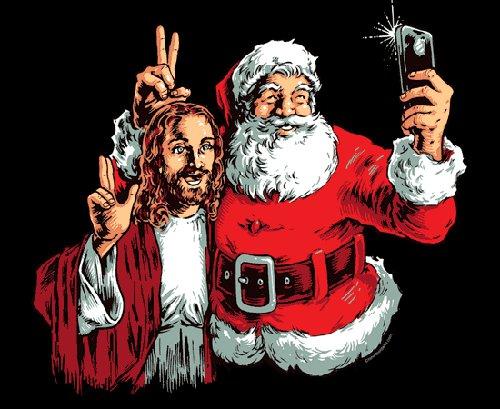 Jesus Santa Selfie T-Shirt