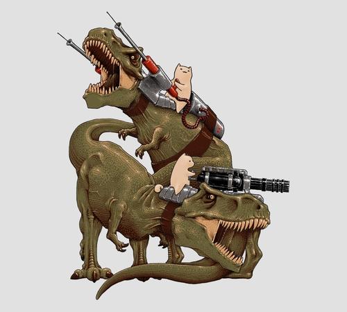 Cats Riding T-Rex Machine Guns T-Shirt