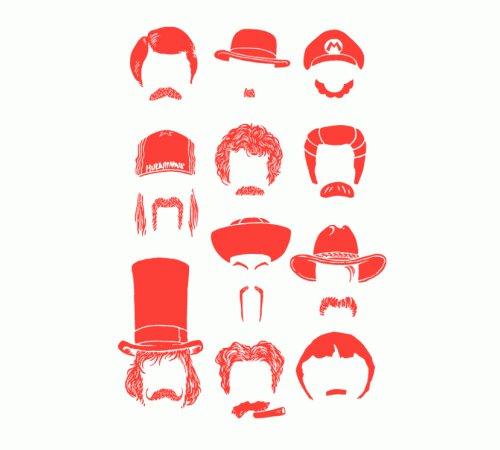 Famous Mustache Chart Faces T-Shirt