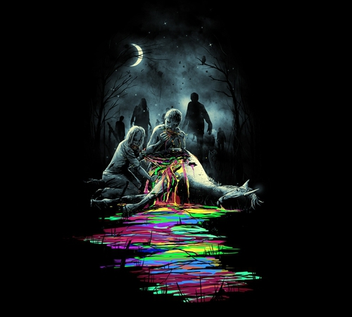 Zombies Eating Unicorn Snack T-Shirt