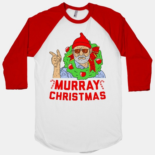 bill murray christmas raglan t shirt