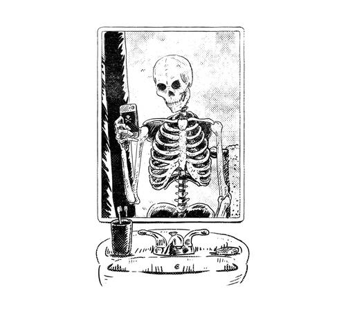 Skeleton Selfie Photo T-Shirt