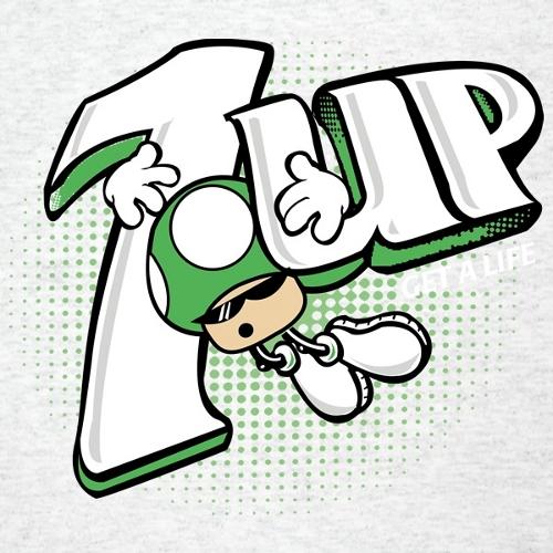 1 Up Mushroom 7 Up Spot Super Mario Bros T-Shirt