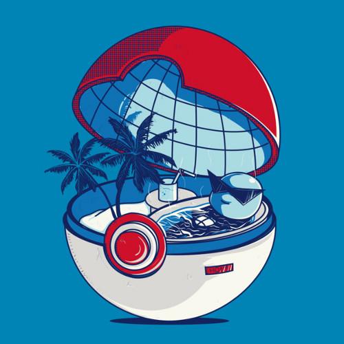 Squirtle Poke Ball Beach Vacation Pokemon T-Shirt