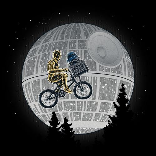 C3PO R2-D2 E.T. Death Star Moon Star Wars T-Shirt