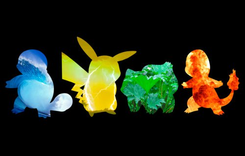 Pokemon Elements Squirtle Pikachu Bulbasaur Charmander T-Shirt