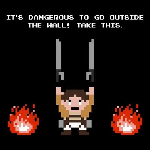 Dangerous Outside Wall Attack on Titan Legend of Zelda T-Shirt
