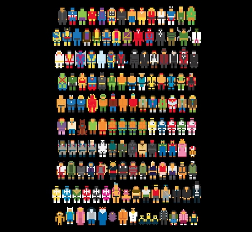 Little Pixelated Pop Video Game Characters T-Shirt