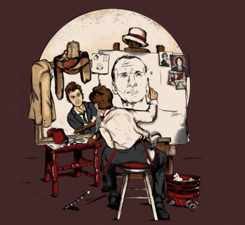 Doctor Who Norman Rockwell Painting T-Shirt
