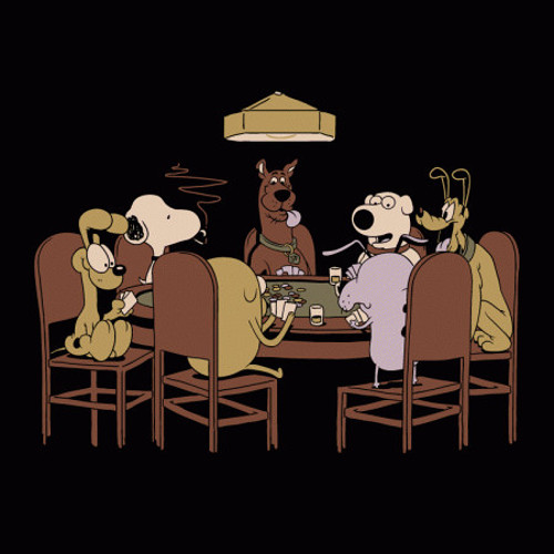 Cartoon Dogs Playing Poker T-Shirt