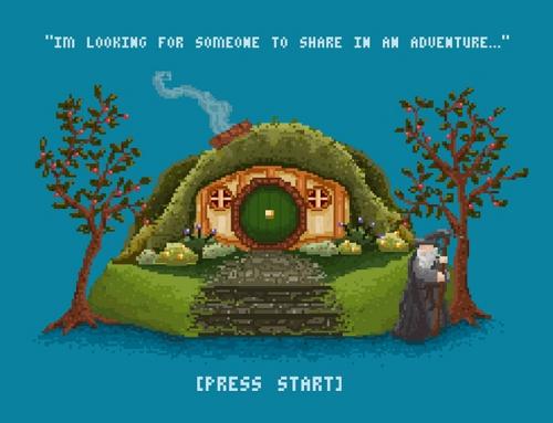 Hobbit 8-Bit Gandalf Share Adventure T-Shirt