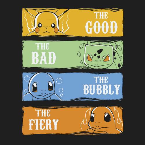 Pokemon Good Bad Ugly Bubbly Fiery T-Shirt