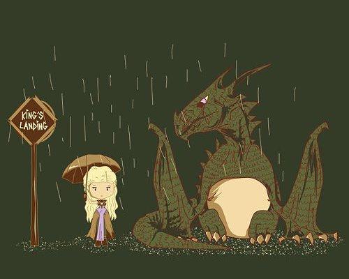 Game of Thrones My Neighbor Totoro Daenerys Targaryen Dragon T-Shirt