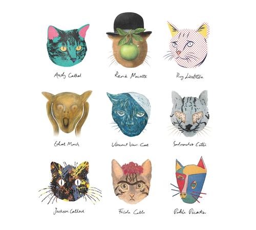 Famous Artists Cat Faces T-Shirt