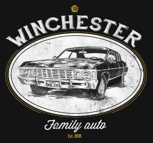 Winchester Family Auto Supernatural Impala T-Shirt