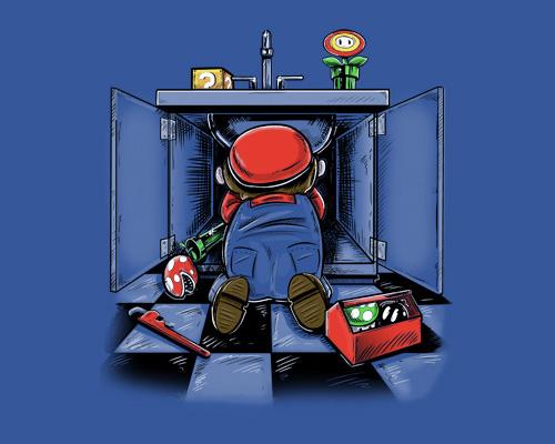 Mario Under Sink Plumbing Super Mario Nintendo Funny T-Shirt