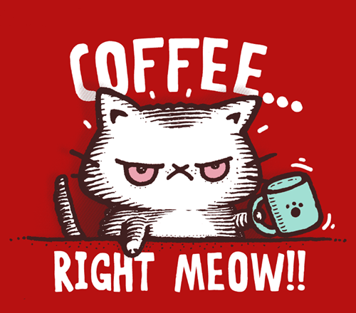 Coffee Right Meow CATfeinne Funny T-Shirt