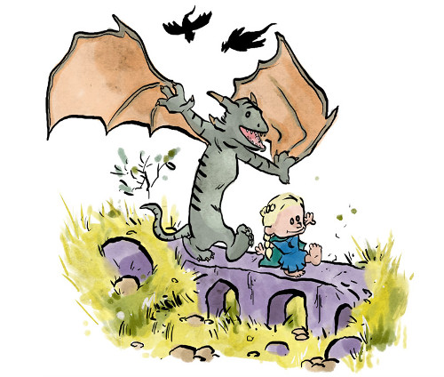 Game of Thrones Calvin and Hobbes Daenerys Targaryen Dragon T-Shirt