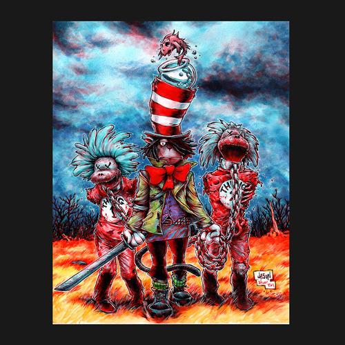 Dr Seuss Walking Dead Cat in the Hat Michonne T-Shirt