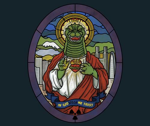 Stained Glass Godzilla Jesus T-Shirt