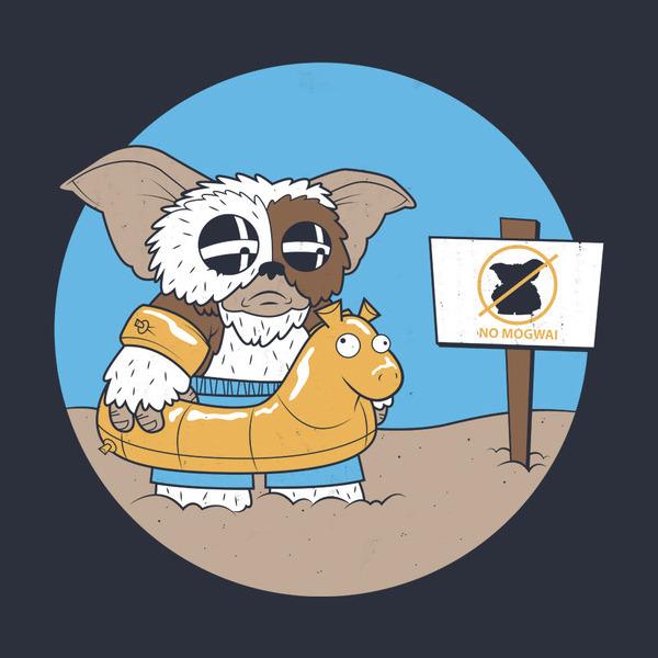 No Mogwais Beach Gizmo Gremlins Funny T-Shirt