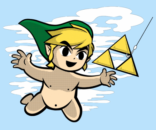 Legend of Zelda Nirvana Link Triforce Nevermind T-Shirt